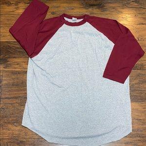 Augusta raglan style 3/4 sleeve tee 2XL gray
